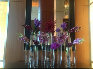 clear vases different flowers